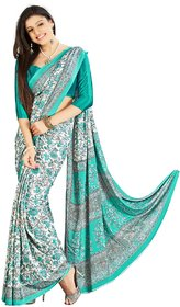Aagaman White Silk Printed Saree With Blouse