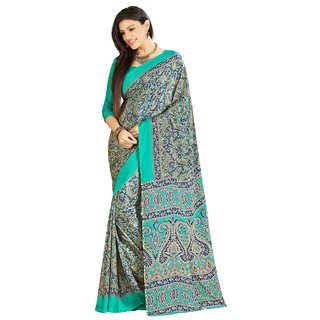Aagaman Multicolor Silk Printed Saree With Blouse