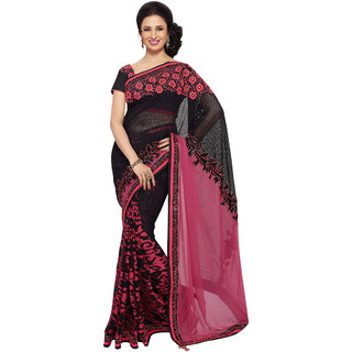 Aagaman Black Net Lace Saree With Blouse