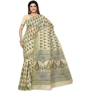 Aagaman Beige Cotton Printed Saree With Blouse
