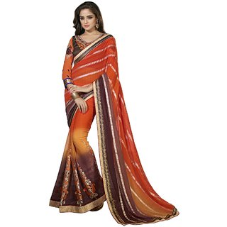 Aagaman Orange Faux Georgette Lace Saree With Blouse