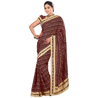 Aagaman Maroon Faux Georgette Embroidered Saree With Blouse
