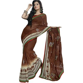 Aagaman Brown Faux Georgette Printed Saree With Blouse
