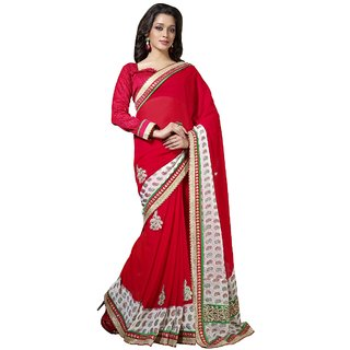 Aagaman Red Georgette Self Design Saree With Blouse