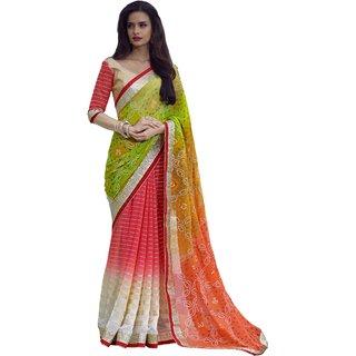 Aagaman Wonderful Red Colored Bandhej Printed Faux Georgette Saree TSN83008