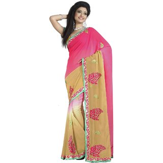 Aagaman Beige Faux Georgette Embroidered Saree With Blouse