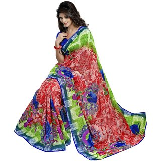 Aagaman Green Faux Georgette Printed Saree With Blouse