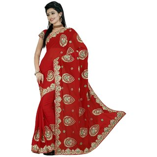 Aagaman Red Faux Georgette Embroidered Saree With Blouse