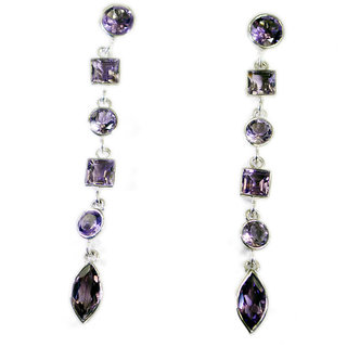 Riyo Amethyst Handmade Silver Jewelry Party Wear Earring L 2.5in Seame-2054