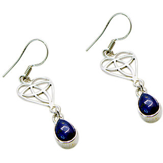 Riyo Lapis Lazuli Unique Silver Jewelry Antique Earrings L 1.5in Sella-44010