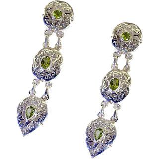 Riyo Peridot Silver Jewelry Artists Love Earring L 2.3in Seper-58044