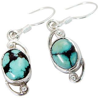 Riyo Turquoise Silver Art Jewelry Evening Wear Earring L 1in Setur-82015