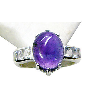 Riyo Purple Amethyst 925 Solid Sterling Silver Etched Ring Srame60-2191
