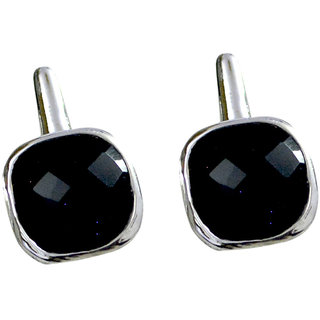Riyo A Black Onyx 925 Solid Sterling Silver Gunmetal Earring L 0.5in Sebon-6042