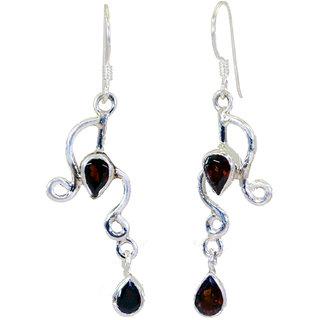 Riyo Garnet Silver Jewelry Jaipur Chandelier Earrings L 2in Segar-26024