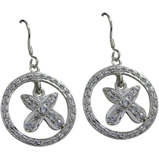 Riyo CZ925 Solid Sterling Silver Hand Crafted Earring L 2in Sewhcz-110001