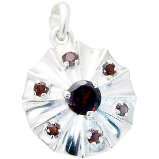 Riyo Garnet Fair Trade Silver Jewellery Simple Pendant L 0.7in Spgar-26021