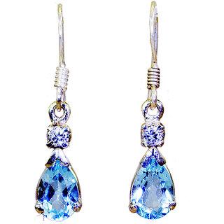 Riyo Blue Topaz Silver Button Jewellery Ear Hook Earrings L 1in Sebto-10004