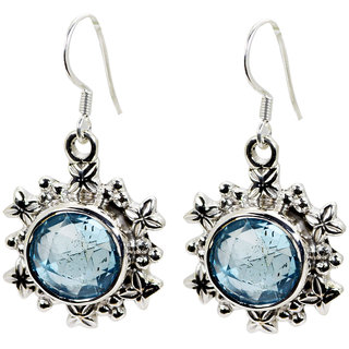Riyo Blue Topaz Silver Costume Jewellery Victorian Earrings L 1in Sebto-10009