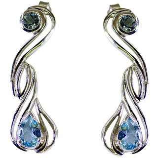 Riyo Blue Topaz Silver Fashion Jewellery Rajasthan Gemstone L 1.3in Sebto-10023