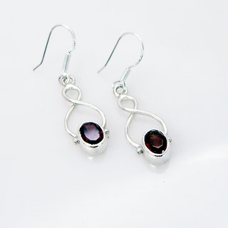 Riyo Garnet Silver Online Jewellery Party Wear Earring L 1in Segar-26061