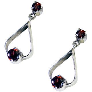Riyo Garnet Silver Stone Jewelry Ear Hook Earrings L 0.7in Segar-26074