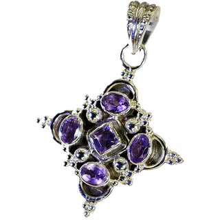 Riyo Amethyst Silver  Heart Shaped Pendant L 1.5in Spame-2044