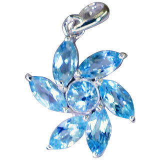 Riyo Blue Topaz Unusual Jewelry Long Silver Pendant Necklace L 0.7in Spbto-10044