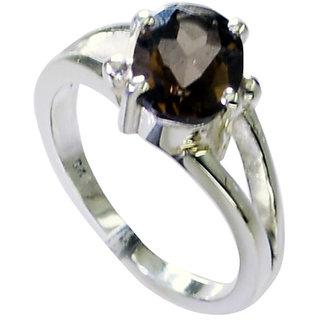 Riyo Smoky Quartz Silver Works Jewelry Couple Ring Silver Sz 6.5 Srsqu6.5-76029