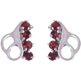 Riyo Red Garnet 925 Solid Sterling Silver Studded Earring L 0.5in Segar-26114