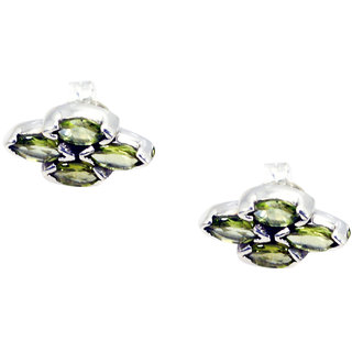Riyo Peridot Black Silver Jewellery Earrings L 0.5in Seper-58003
