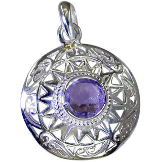 Riyo Amethyst Silver Jewelry Handmade Door Knocker Pendant L 1.5in Spame-2097