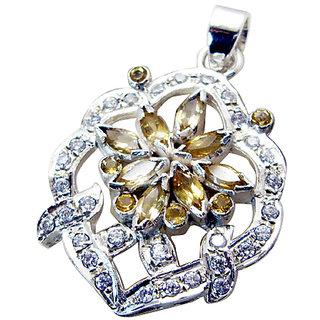 Riyo Citrine Silver Sterling Flower Pendant L 1.5in Spcit-14013