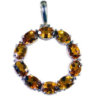 Riyo Citrine Branded Silver Jewellery Dome Pendant L 1in Spcit-14042