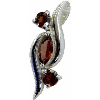 Riyo Red Garnet 925 Solid Sterling Silver Simple Pendant L 0.5in Spgar-26139