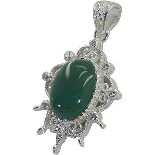Riyo A Green Onyx 925 Solid Sterling Silver Slip On Pendant L 2in Spgon-30005