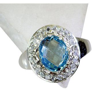 Riyo Blue Topaz Oxidized Silver Jewelry Posie Ring Sz 7 Srbto7-10067
