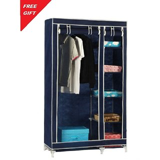 gizmo-dealz Double Door Plastic Foldable Foldable Wardrobes Almirah Cupboard With Free Credit Card Holder (Multicolor)