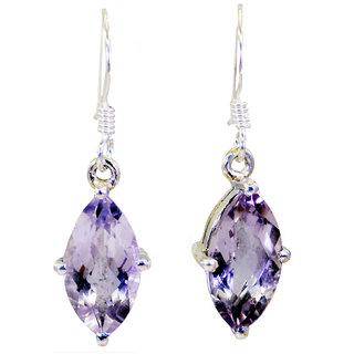 Riyo Amethyst Gemstone Silver Evening Wear Earring L 1.2in Seame-2005