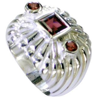 Riyo Garnet Hammered Silver Silver Ring Band Sz 6.5 Srgar6.5-26202