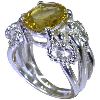 Riyo Yellow Citrine 925 Solid Sterling Silver Inlaid Ring Srcit70-14080