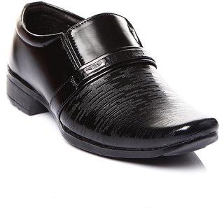 Trilokani Faux Leather Black Pu School Shoes