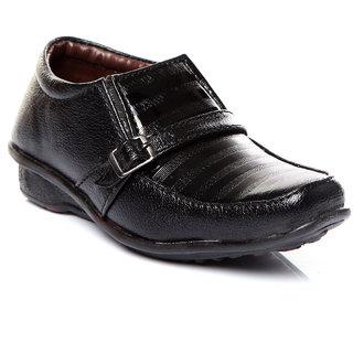 Trilokani Black Stylish Formal Kids Shoes