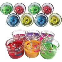 Peepalcomm Gel Pot Candle With Small Pencil Candle(Multicolor, Pack of 14)