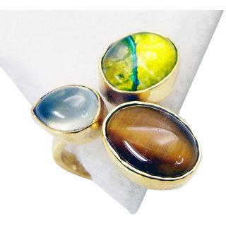 Riyo  Tiger Eye 18c Y Gold Plated Beautiful Ring Sz 8 Gprmul8-53018