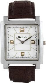 Relish Square Dial Brown Leather Strap Quartz Watch For Men