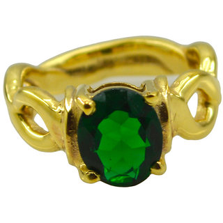 Riyo Green Emerald Cz  18kt Gold Plated  Faceted Ring Gpremcz80-96136