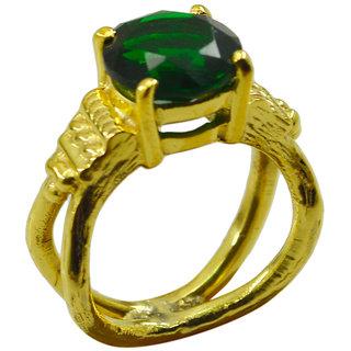Riyo Green Emerald Cz  18kt Gold Plated One Of A Kind Ring Gpremcz80-96138