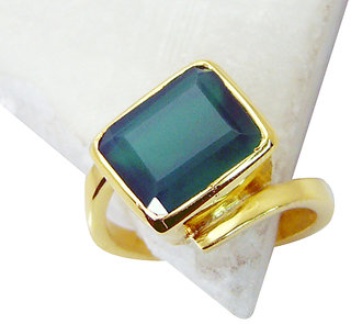 Riyo Green Onyx 18 Kt Gold Platings Claddagh Ring Sz 8.5 Gprgon8.5-30050