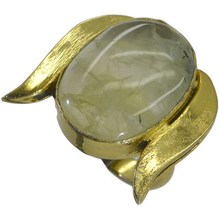 Riyo Green Prehnite  18kt Gold Plated Finelydetailed Ring Gprpre65-60040